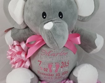 Birth Announcement Stuffed Animal with Baby Feet for Baby Boy or Baby Girl by Felicia's Fancies Baby Boutique
