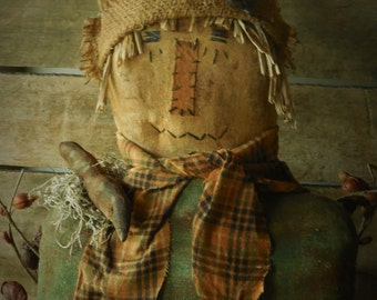Primitive Grungy Fall Scarecrow Sitter