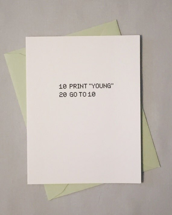 Shop thebirdthebeard geeky birthday card basic computer programming language forever young basically awesome birthday bookmarktalkfo Images