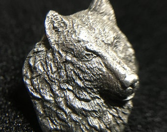 "1990s ""Wolf Head"" Siskiyou Pewter Pin (Made in USA)"