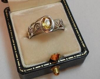 Vintage Sterling Citrine Stone Ring - Sz. 7 3/4