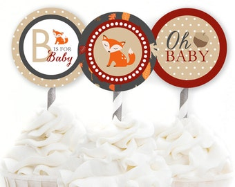 Fox Cupcake Toppers, Fox Baby Shower, Gender Neutral Decor, Fall Baby Shower, Autumn Shower Decor, Woodland Shower, INSTANT DOWNLOAD, #F4