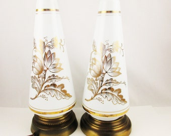 Two White Milkglass Lamps With Bronze Painted Detailing - 1960s - Glass - Mid-Century Lighting - Pair of Lamps
