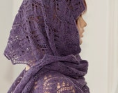 Hand knitted scarf, rectangular, violet with beautiful lace pattern, woolen.