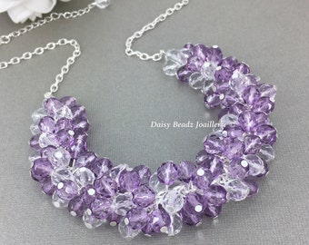 Purple Necklace Lavender Necklace Crystal Necklace Cluster Chunky Bridesmaid Gift Purple Jewelry Gift for Her Jewelry Gift for Moms Wedding