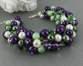 Dark Purple and Green Bracelet, Pearl Bracelet, Bridesmaids Gift, Bridesmaid Cluster Bracelet, Chunky Bracelet, Purple and Green Wedding