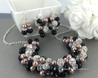 Brown and Black Necklace Pearl Cluster Taupe Necklace Bridesmaids Gift Pearl Necklace Vintage Style Wedding Gift for Bridesmaid Mother