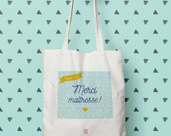 """""""Thank you teacher"""", Tote bag personalize bag, year-end gift, tote bag, cloth bag, cotton tote bag, french"""
