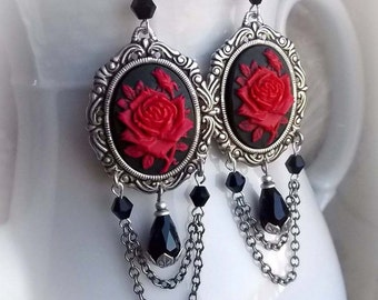 Baroque rose cameo chandelier earrings - READY TO SHIP - gothic victorian earrings dangle earrings aged silver ornate earrings rose earrings