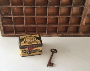 Tin vintage,  Eadies Travellers, 1900's collectable metal Scotland, old tin, collectors tin, rustic, man cave, yellow tin