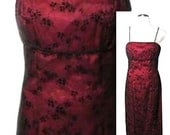 Vintage Empire Waist Full Length Burgundy Evening Dress with Black Sparkle Flocking and Leg Slit - Fits Size Small