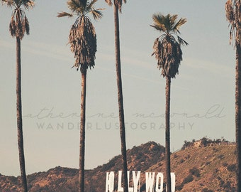 Hollywood Palms - Photographic Print -  Photography Los Angeles, California, Bohemian, boho, chic, mint,  Photograph, Wall, Art, Hanging,