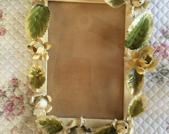 French Shabby Chic Country Toleware Roses Picture Frame
