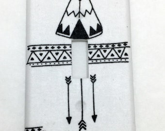 Teepees and Arrows Light Switch Plate Cover / Outlet Cover / Bedroom / Home Decor / Housewarming Gift / Nursery Decor / Kid's Room / Woods