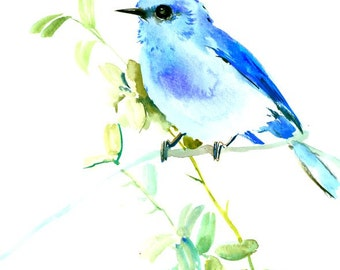 Mountains Bluebird original watercolor painting, 10 X 8 in