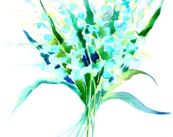 Lilies of the Valley 14 X 11 in original watercolor painting
