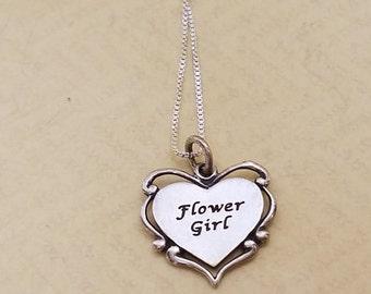 Flower Girl Gift Keepsake Sterling Silver Heart Necklace Bridal Jewelry