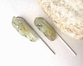 Kyanite Raw Crystal Long Post Earrings - Gemstone Earrings, Green Earrings, Long Post Earrings, Green Kyanite, Raw Stone, Rough Cut