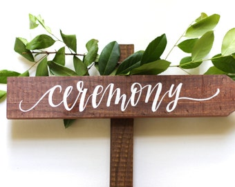 Rustic Wedding Directional Sign with Stake, Wooden Wedding Sign, Ceremony & Reception Signs, | 15x3