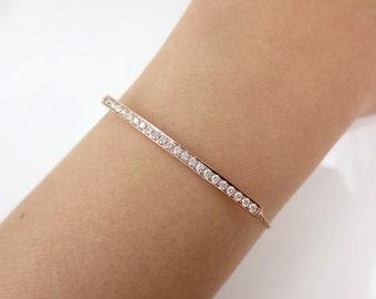Diamond Pave Bar Charm Bracelet set in 18k Rose Gold.
