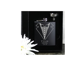 Sale !!! Groomsmen Flasks in Gift Boxes  NEW !!  Personalized 6 oz Wedding Flask & Funnel Gift Set - Perfect for Wedding Party Favors