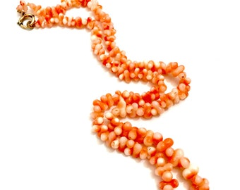 Antique Angel Skin Coral Bead Necklace, Barbell Shape Beads, Gold Filled Clasp, 1910s