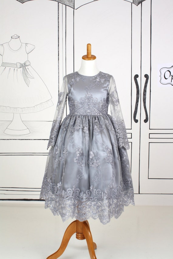 Girls Size 8 Long Sleeve Dress Silver Gray Grey Satin Tulle Embroidered Christmas New Years Wedding Bridesmaid Flower Girl Special Occasion