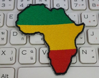 Africa Map Iron on patch - Africa Applique Embroidered Iron on Patch