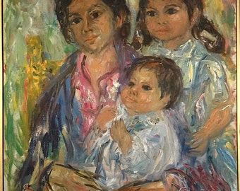 Rare ca.1965 US Listed Artist Mother & Children Portrait Painting Oil/Canvas/Frame