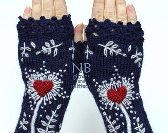 Knitted Fingerless Gloves, Dark Bue, Heart, Gloves & Mittens, Gift Ideas,