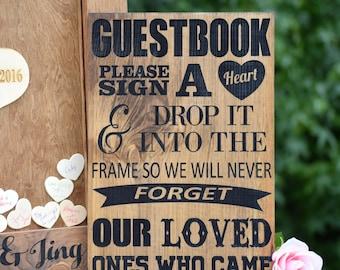 Guest Book Sign - Wedding Guest Book Alternative - Heart Drop Guest Book - Guest Book Drop Box - Guestbook Drop Box - Guest Book Ideas