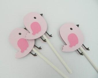 Bird Cupcake Toppers Bird Baby Shower Baby Bird Cupcake Toppers Baby Bird Birthday Party Pink Baby Shower • Set of 12