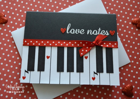 Piano Card Loves Notes Card Valentines Day Card Music – Musical Valentines Day Cards