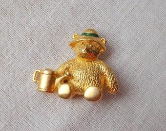 SUMMER SALE  Gold Gardening Teddy Bear Pin  1544
