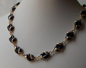 Unique Swarovski Black Crystal and Molded Gold Link Necklace  1434