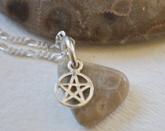 Petoskey Stone necklace with sterling Star of David charm,  , Michigan necklace, Up North