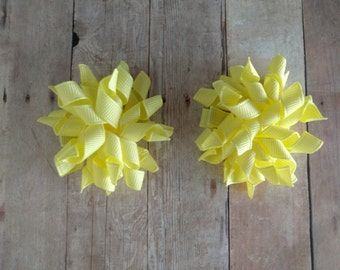 CLEARANCE- Mini Korker Bow Hair Clip Set- Light Yellow Grosgrain Ribbon, Pigtail Bows, Great for Toddlers, Ready to Ship, Made in USA