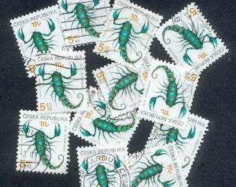 12 Scorpion Postage Stamps from The Czech Republic - 1998 - Collage, Altered Books, Artist Trading Cards