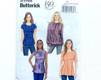 Butterick B5988, Women's Top Pattern, Shirt Pattern, Blouse Pattern, Size 16, 18, 20, 22, 24, Easy Pattern, Uncut Pattern