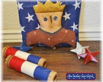Primitive Folk Art Patriotic Lady Liberty Bust Doll