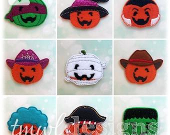 "Halloween Pumpkins Feltie Set Digital Design Files - 1.75"""
