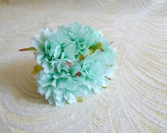 Small Light Aqua Blue Flowers Bunch of 6 Blossoms for Hats Fascinators Floral Crowns Crafts