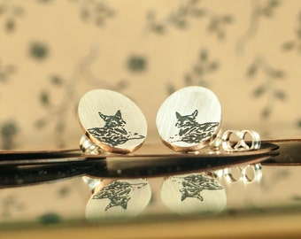 Earrings studs Fox,Wildworld Etched brushed sterling silver, Handcut, jewelry