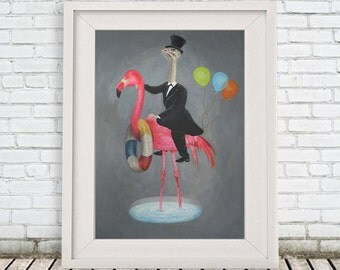 Flamingo Print, ostrich print, Pink, Holiday gift, printed version of original painting of Coco de P: Flamingo with ostrich