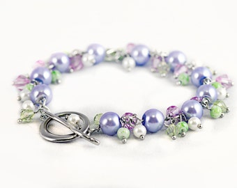 Lilac and Green Crystal Charm Bracelet