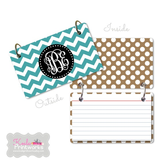 Personalized 3x5 Index Card Ring Binder You by KoalaPrintworks