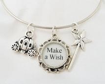 Fairy Godmother - Silver Bangle Bracelet - Cinderella - Fairy Tale Jewelry - Cindereall Charm Bracelet - Cinderella Jewelry