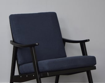 Restored Retro Chair in Charcoal Wool