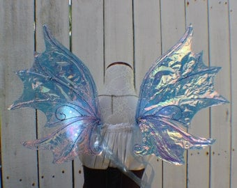 Medium Size Blue Iridescent Water Fairy Wings