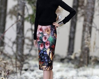 ELENPRIV Black floral printed leather SKIRT for Fashion royalty FR2 Color Infusion, NuFase and similar body size dolls.